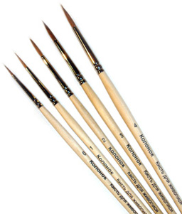 Set  [#888]  4 Sable round  brushes.Size: #1,#2,#3,#4. Russia